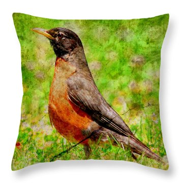 Throw Pillow featuring the photograph The Early Bird . Texture . Square by Wingsdomain Art and Photography