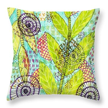 Throw Pillow featuring the mixed media The Earth Dances by Lisa Noneman
