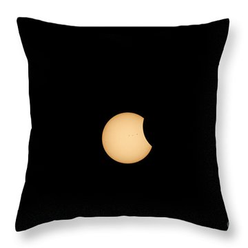 The Eclipse Begins Throw Pillow