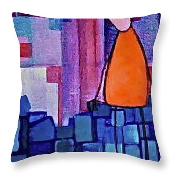 Throw Pillow featuring the painting The Edge by Donna Howard