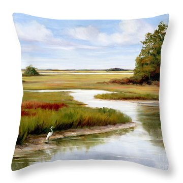 The Egrets World Throw Pillow