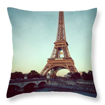 Throw Pillow featuring the photograph The Eifeltower by Hannes Cmarits