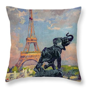The Eiffel Tower And The Elephant By Fremiet Throw Pillow by Jules Ernest Renoux