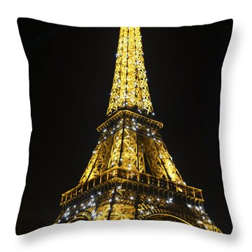 The Eiffel Tower At Night Illuminated, Paris, France. Throw Pillow