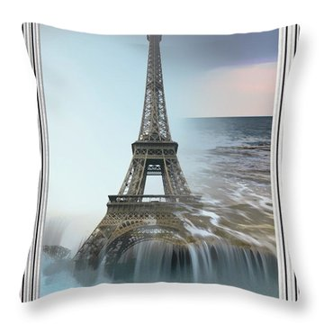 The Eiffel Tower In Montage Throw Pillow