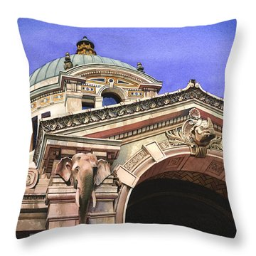 The Elephant House Bronx Zoo Throw Pillow by Marguerite Chadwick-Juner