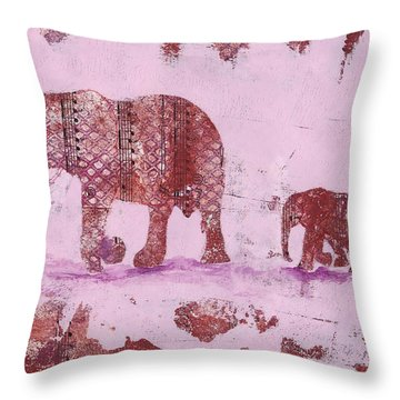 The Elephant March Throw Pillow