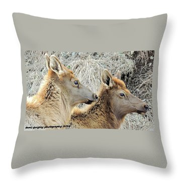 The Elk Of Winter  Throw Pillow