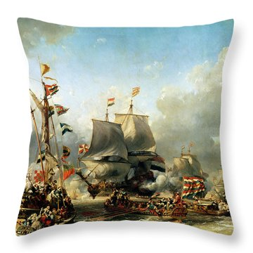 The Embarkation Of Ruyter And William De Witt In 1667 Throw Pillow by Louis Eugene Gabriel Isabey