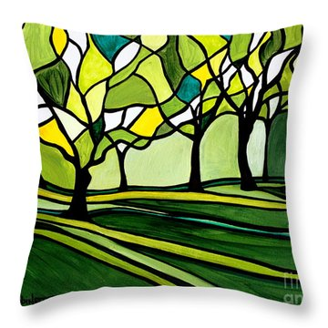 The Emerald Glass Forest Throw Pillow