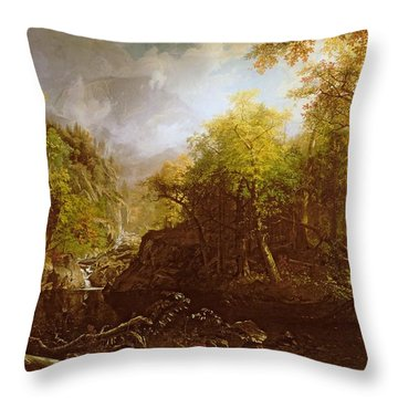 The Emerald Pool Throw Pillow by Albert Bierstadt