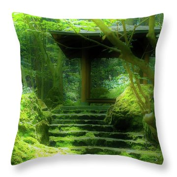 The Emerald Stairs Throw Pillow