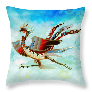 The Empress - Flight Of Phoenix - Blue Version Throw Pillow