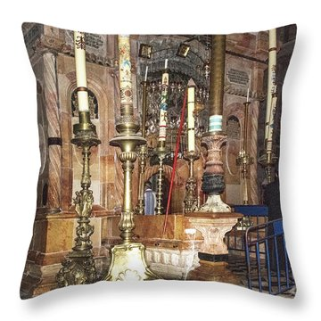 Throw Pillow featuring the photograph The Empty Tomb Of Christ by Mae Wertz