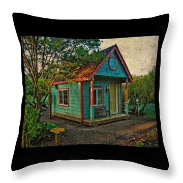 Throw Pillow featuring the photograph The Enchanted Garden Shed by Thom Zehrfeld