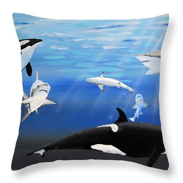 The Encounter Throw Pillow by Luis F Rodriguez