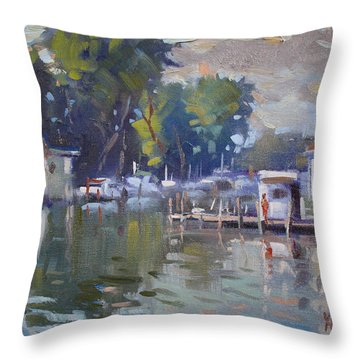 The End Of A Beautiful Day By The Boat Houses Throw Pillow