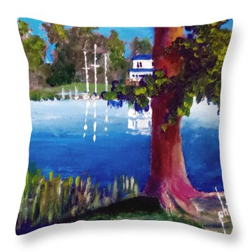 Throw Pillow featuring the painting The End Of Willingham Park by Jim Phillips