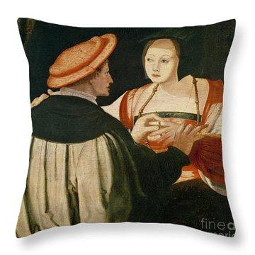 The Engagement Throw Pillow by Lucas van Leyden