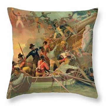 The English Navy Conquering A French Ship Near The Cape Camaro Throw Pillow by English School