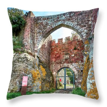 The Entrance To The Monastery Of Escornalbou Throw Pillow
