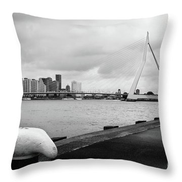 Throw Pillow featuring the photograph The Erasmus Bridge In Rotterdam Bw by RicardMN Photography