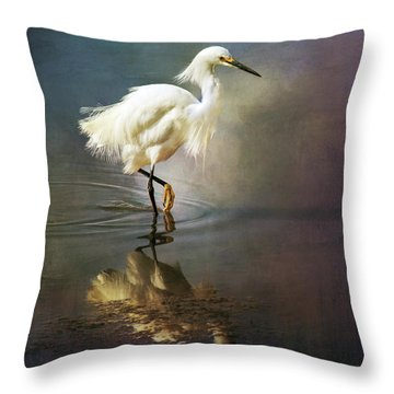The Ethereal Egret Throw Pillow