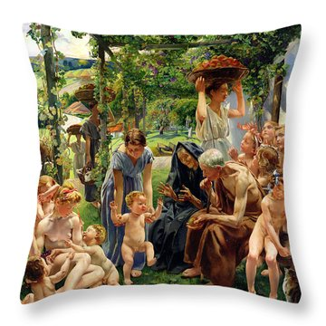The Evening Throw Pillow by Leon Henri Marie Frederic
