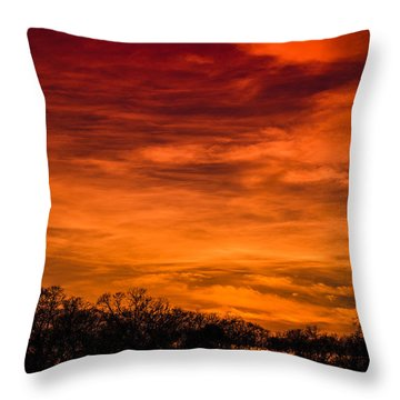 The Evening Sky Of Fire Throw Pillow by David Collins