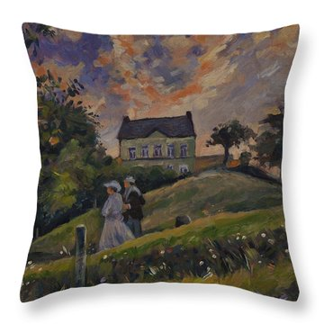 The Evening Stroll Around The Hoeve Zonneberg Throw Pillow