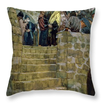 The Evil Counsel Of Caiaphas Throw Pillow by Tissot
