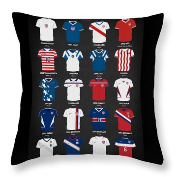 Throw Pillow featuring the digital art The Evolution Of The Us World Cup Soccer Jersey by Taylan Apukovska