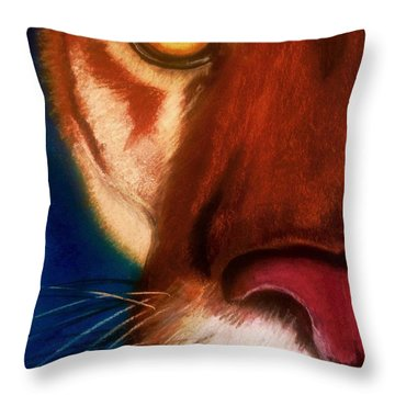 The Eye Of A Cougar Throw Pillow by Renee Michelle Wenker