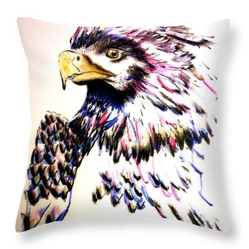 Watercolor Painting Of The Eye Of Freedom By Ayasha Loya Throw Pillow
