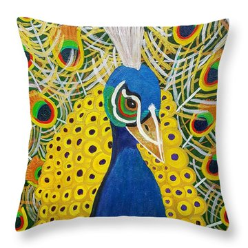 The Eye Of The Peacock Throw Pillow by Margaret Harmon