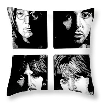 The Fab Four Throw Pillow