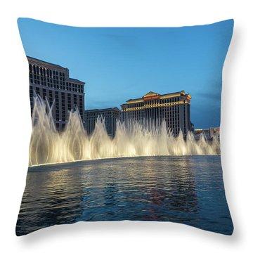 The Fabulous Fountains At Bellagio - Las Vegas Throw Pillow