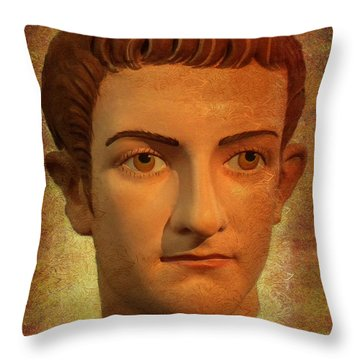 The Face Of Caligula Throw Pillow by Nigel Fletcher-Jones