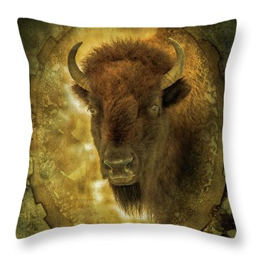 The Face Of Tatanka Throw Pillow