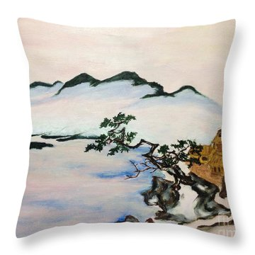 The Fading Spirit Of Chikanobu Awakened By Shintoism Throw Pillow by Sawako Utsumi
