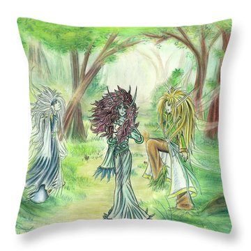 Throw Pillow featuring the painting The Fae - Sylvan Creatures Of The Forest by Shawn Dall
