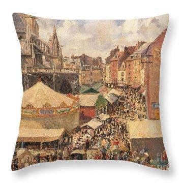The Fair In Dieppe Throw Pillow by Camille Pissarro