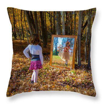 The Fairy In The Mirror Throw Pillow