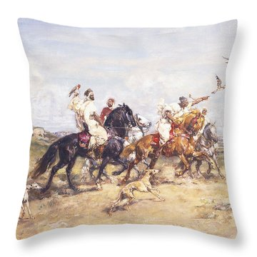 The Falcon Chase Throw Pillow by Henri Emilien Rousseau