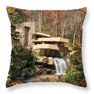 The Fallingwater Throw Pillow by Edwin Verin