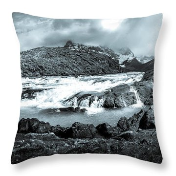 The Falls In Black And White Throw Pillow by Andrew Matwijec