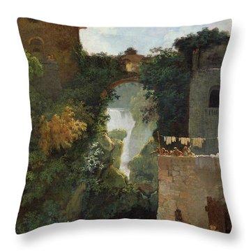 The Falls Of Tivoli Throw Pillow by Jean Honore Fragonard