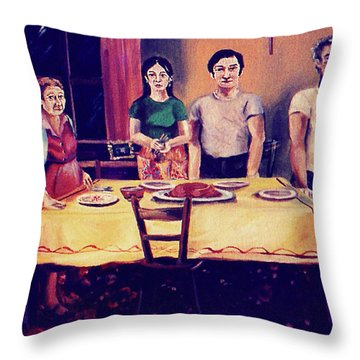 The Family Dinner Throw Pillow by John Keaton