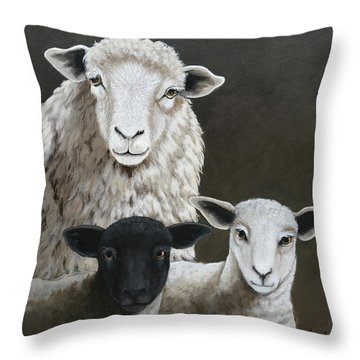 The Family - Sheep Oil Painting Throw Pillow