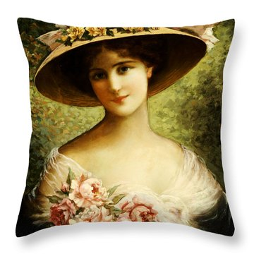 The Fancy Bonnet Throw Pillow by Emile Vernon
